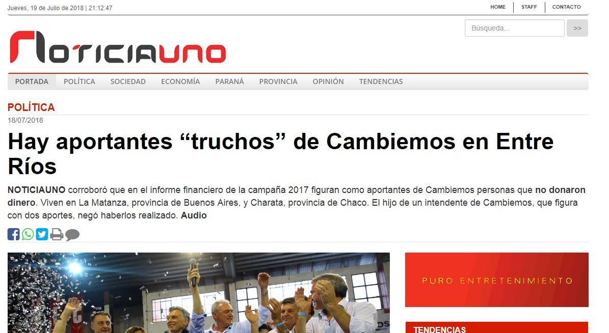 El medio colega NOTICIAUNO de Entre Ríos denunció irregularidades en la campaña del PRO.