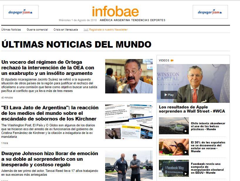 El sitio Infobae, dependiente de la Embajada de Estados Unidos y cómplice del régimen.