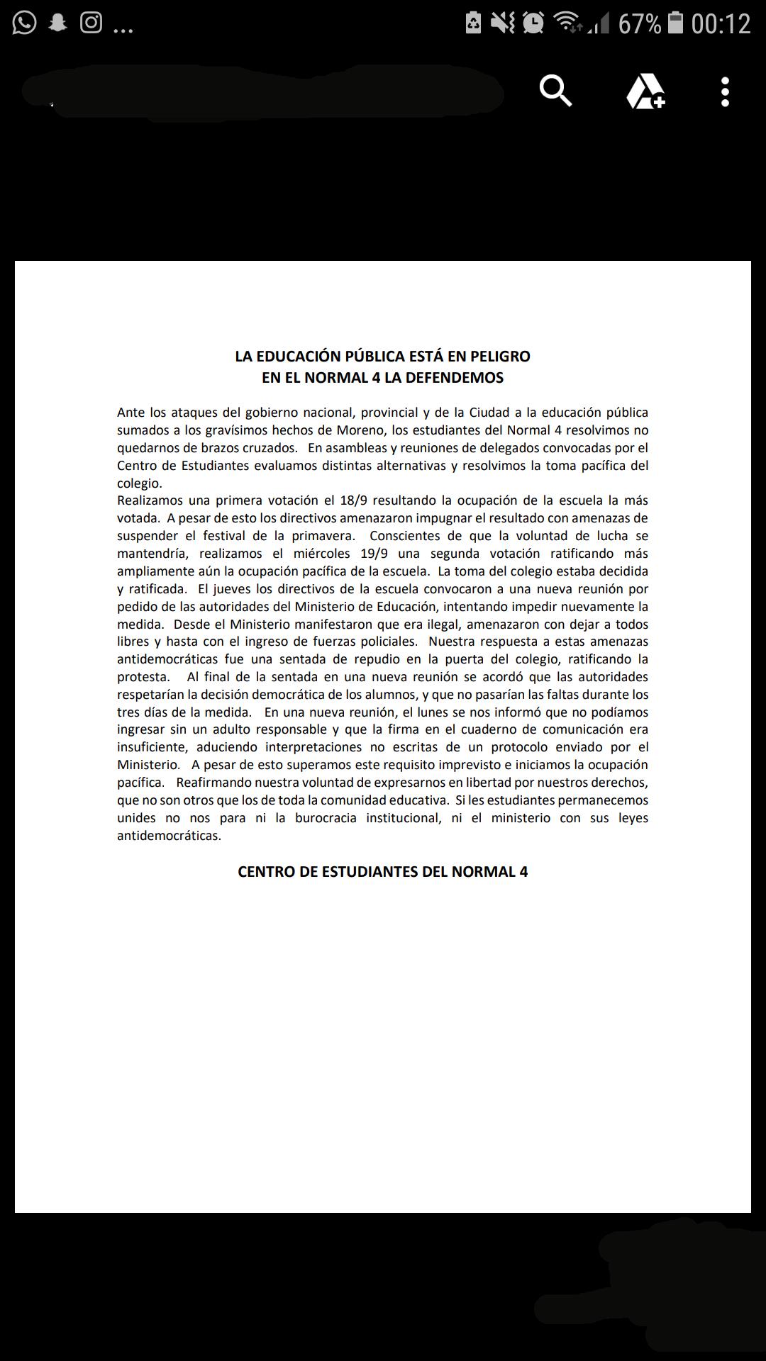 180927 - Normal 4 - Declaración del Centro de Estudiantes