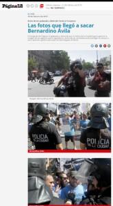 Secuencia de fotos publicada por el matutino Página/12, donde trabaja Bernardino Ávila.
