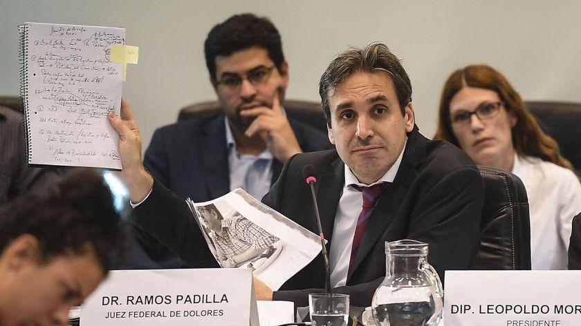 El Juez Ramos Padilla exponiendo ante la Comisión del Congreso.