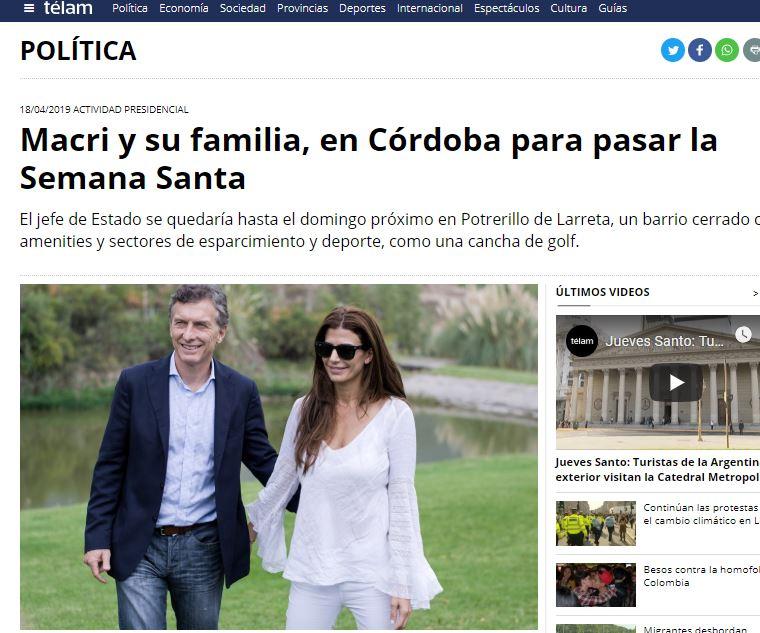 Macri_Telam_vacaciones
