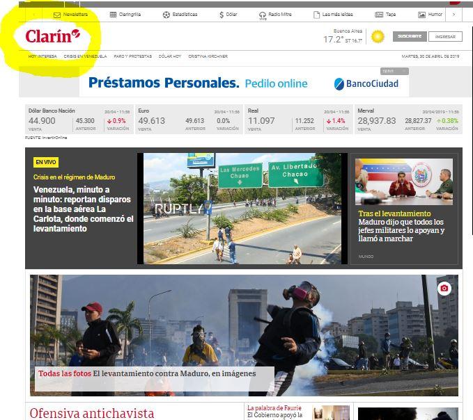 El oligopolio derechista Clarín apoya a los terroristas venezolanos.