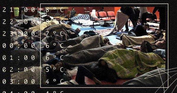Indigentes durmiendo en la cancha de Ríver. Foto: RED SOLIDARIA