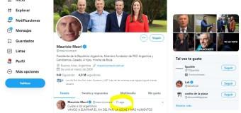 COMUNICACIÓN – Régimen | Desde hace tres días no actualizan el Twett de Macri.