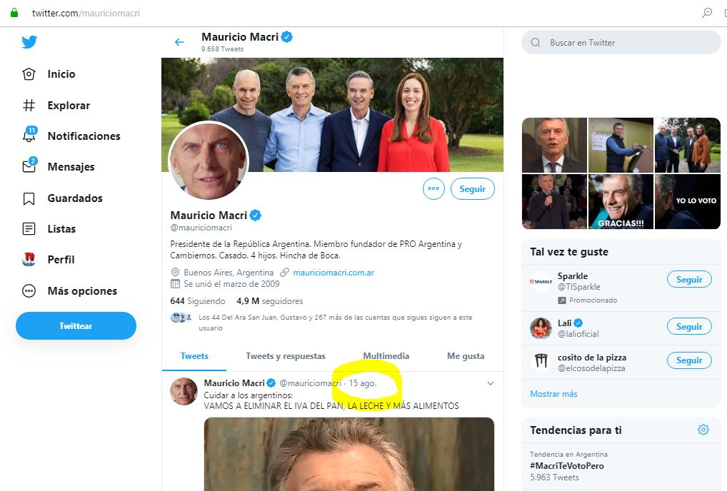 Macri actualizó por última  vez el Twetter hace tres días.