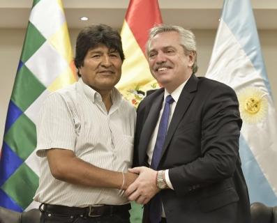 El Presidente Evo Morales y Alberto Fernández.