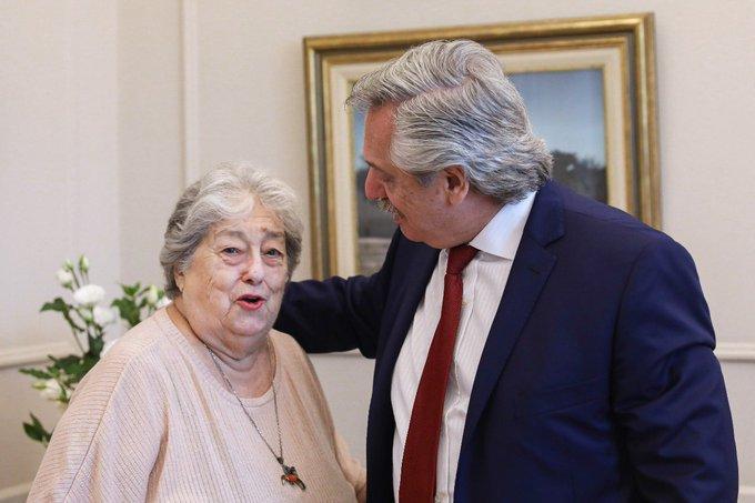 Hebe de Bonafini con Alberto Fernández.