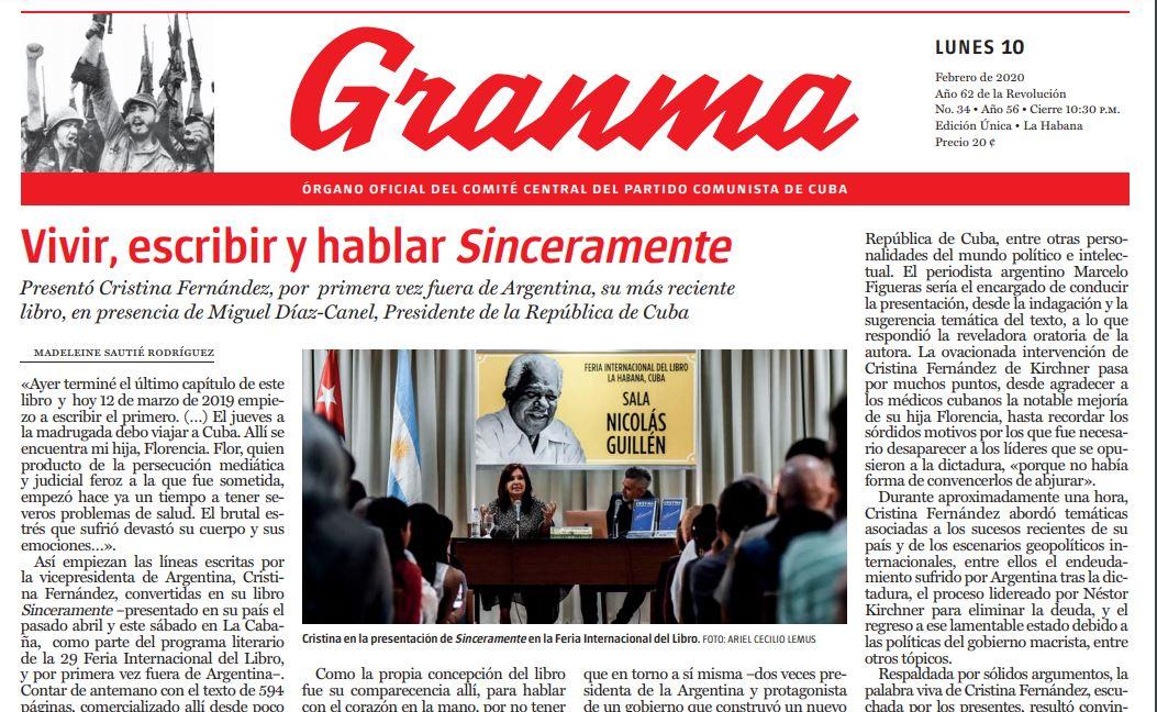 Tapa de la edición del lunes 10 de febrero de 2020 del diario Ganma, el más importante de Cuba.