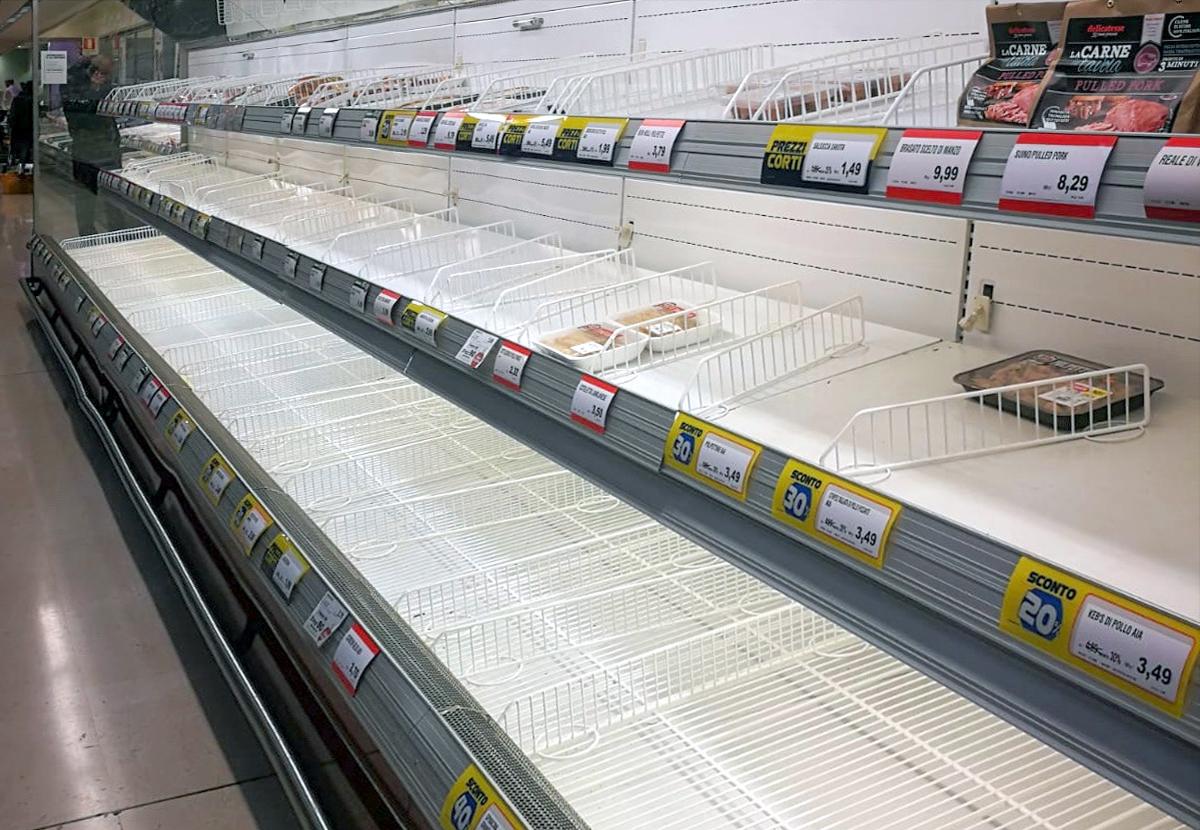 Italia tiene problemas incluso en el suministro de alimentos.