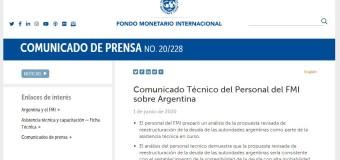 DEUDA EXTERNA MACRISTA | El Fondo Monetario apoya la renegociación de la deuda externa propuesta por Alberto Fernández.