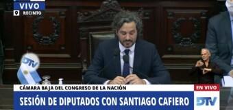 TV – Directo |  Santiago Cafiero expone ante la Cámara Baja.