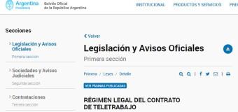 TRABAJO – Argentina | El Boletín Oficial publicó la Ley de Teletrabajo.