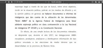 ESPIONAJE ILEGAL MACRISTA XXXVI | La AFI macrista creó un Proyecto AMBA para perseguir a Cristina Fernández.