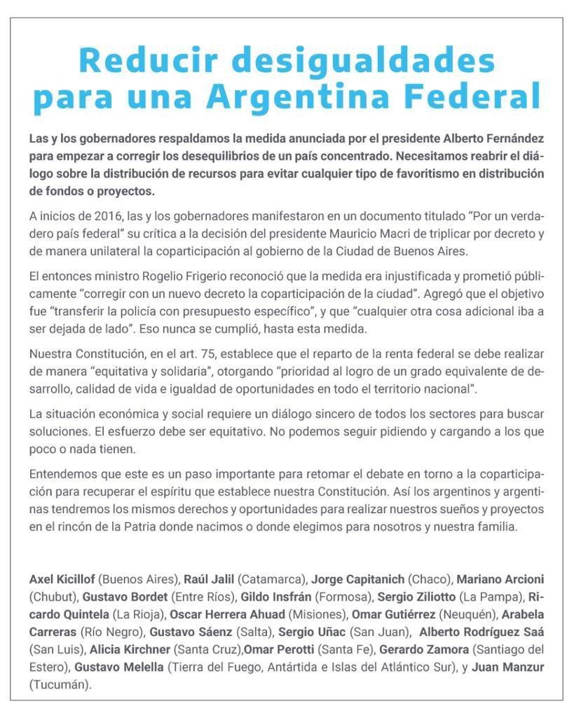 Gobernadores_Coparticipacion_Manifiesto