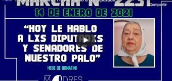 DERECHOS HUMANOS – Madres | En la marcha del 14 de enero Hebe de Bonafini le habló a los Diputados y Senadores del Frente de Todos.