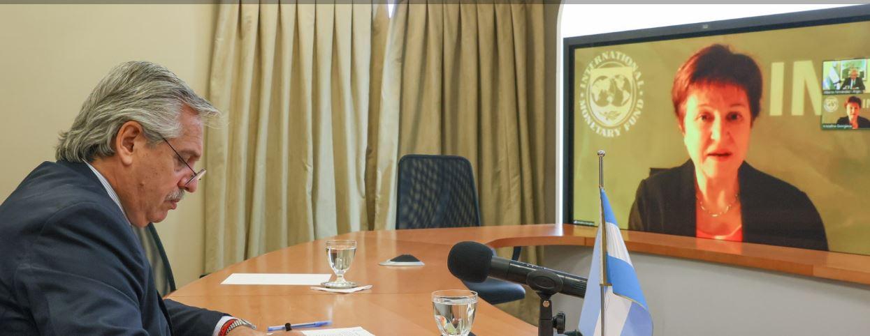 Videoconferencia entre el Presidente Fernández con Kristalina Georgieva.