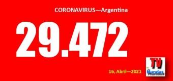 CORONAVIRUS – Argentina | Argentina alcanza 29.472 nuevos contagiados y la CABA rompe récords.