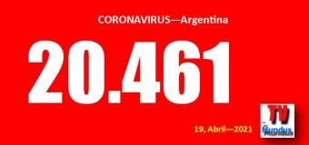 CORONAVIRUS – Argentina   Con 20.461 nuevos infectados en el país y colapso del sistema sanitario porteño.
