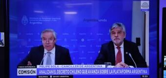 REGIÓN – Argentina / Chile | El Ministro Solá y el Secretario Filmus explicaron al Senado el alcance de la agresión chilena a la plataforma argentina.