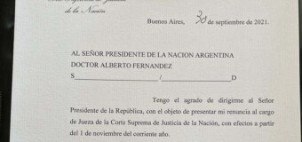 CORTE SUPREMA   Renunció la macrista Elena Highton de Nolasco.